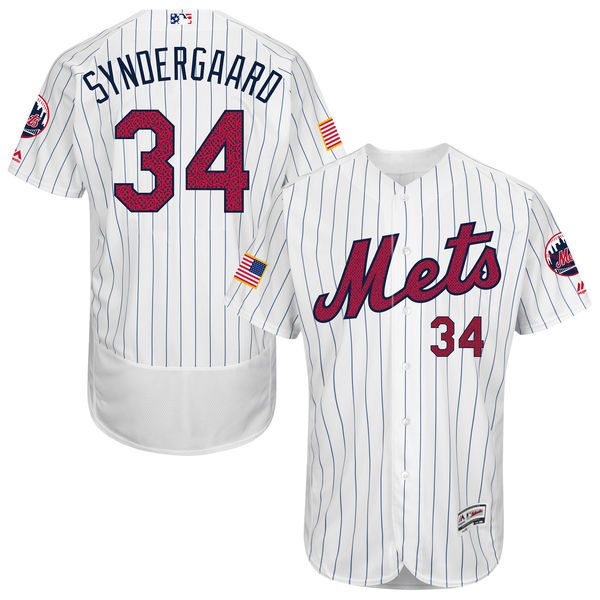 2016 MLB FLEXBASE New York Mets 34 Syndergaard White Fashion Jerseys