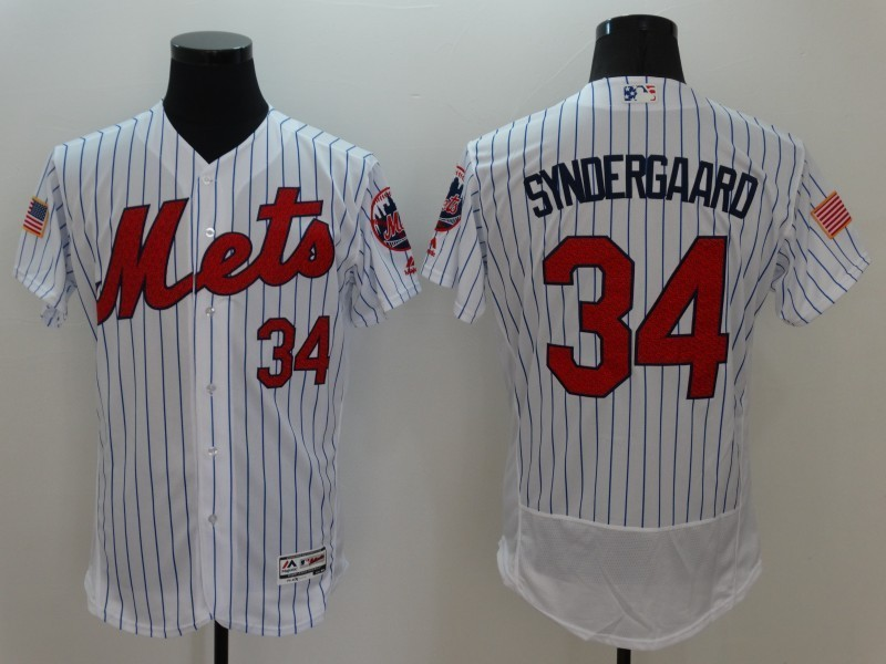 2016 MLB FLEXBASE New York Mets 34 Syndergaard White1 Fashion Jerseys