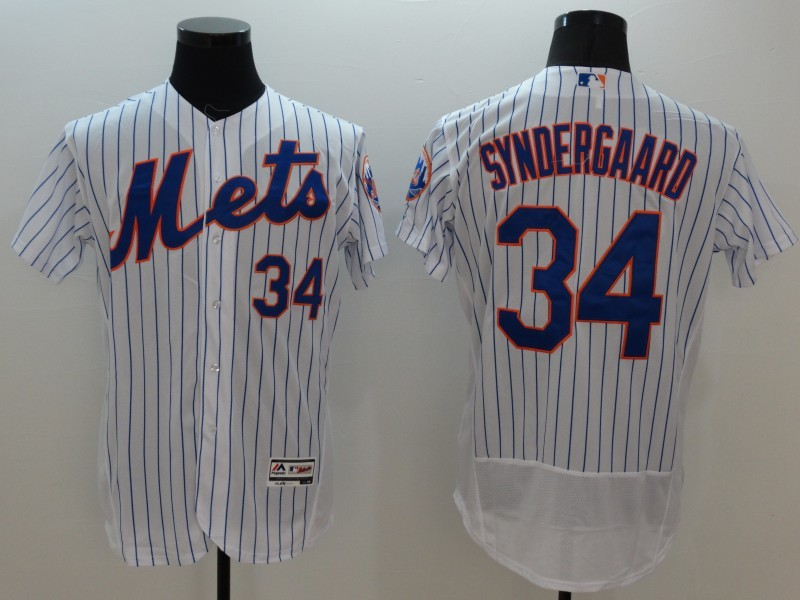 2016 MLB FLEXBASE New York Mets 34 Syndergaard white jerseys