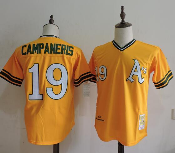 2016 MLB FLEXBASE Oakland Athletics 19 Campaneris Yellow Throwback Jerseys