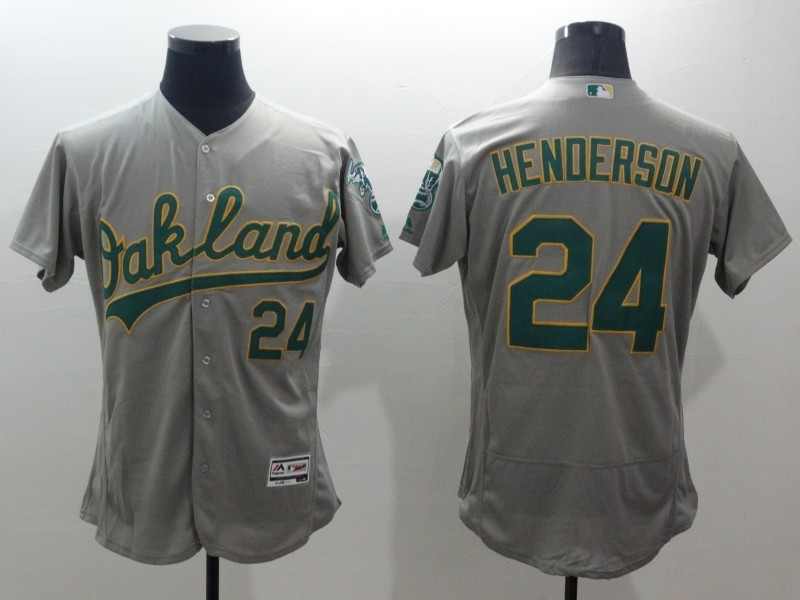 2016 MLB FLEXBASE Oakland Athletics 24 Hederson grey jerseys
