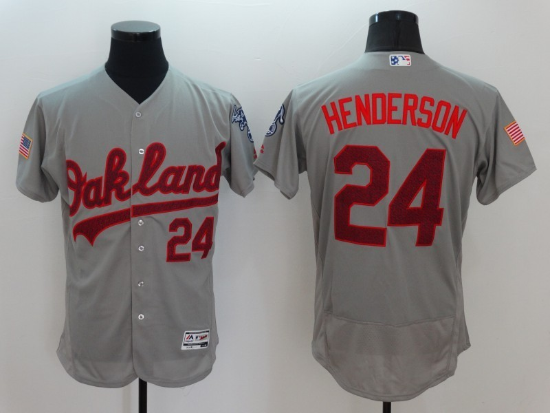 2016 MLB FLEXBASE Oakland Athletics 24 Henderson Grey Fashion Jerseys