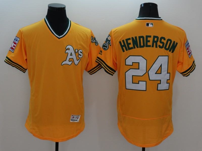 2016 MLB FLEXBASE Oakland Athletics 24 Henderson Yellow Jersey