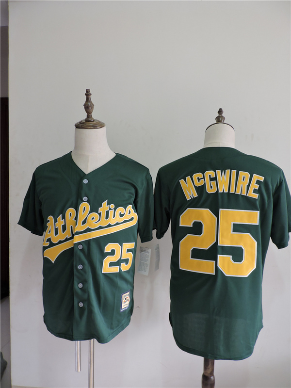 2016 MLB FLEXBASE Oakland Athletics 25 Mcgwire Green Jerseys