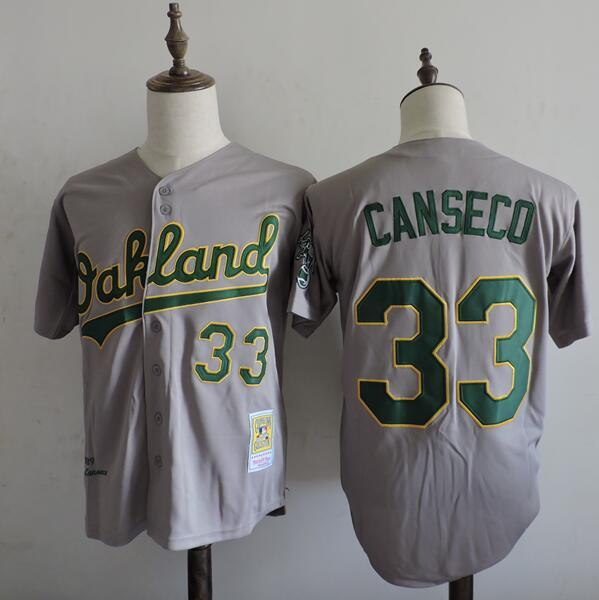 2016 MLB FLEXBASE Oakland Athletics 33 Canseco Grey Jerseys