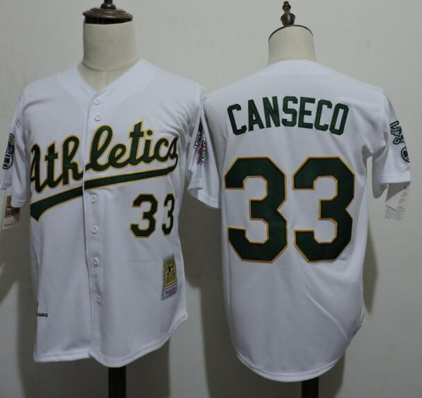 2016 MLB FLEXBASE Oakland Athletics 33 Canseco White Jerseys