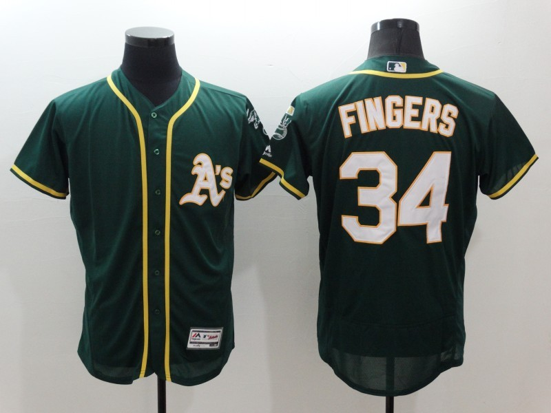 2016 MLB FLEXBASE Oakland Athletics 34 Fingers Green Jersey