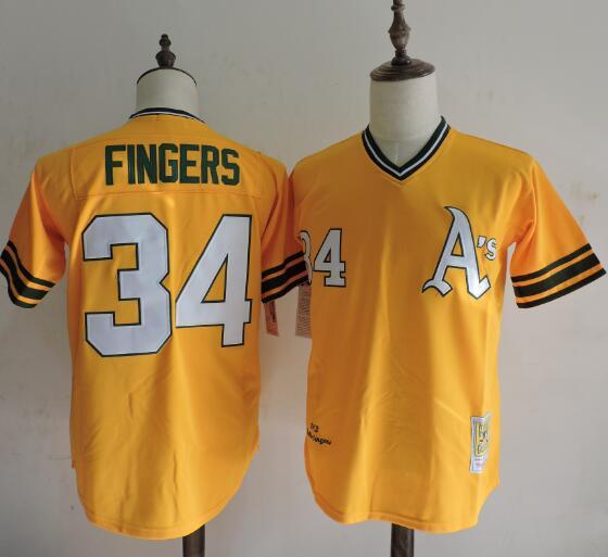 2016 MLB FLEXBASE Oakland Athletics 34 Rollie Fingers 1972 Yellow Throwback Jerseys