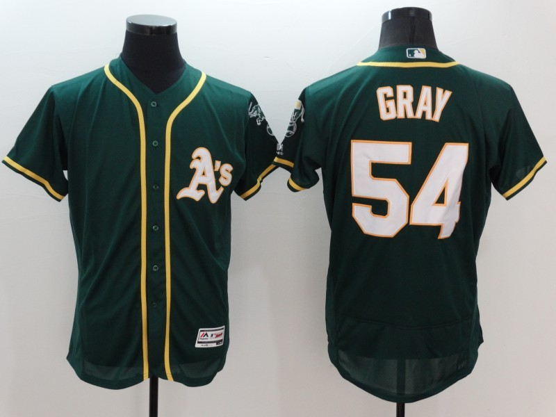 2016 MLB FLEXBASE Oakland Athletics 54 Gray Green Jersey