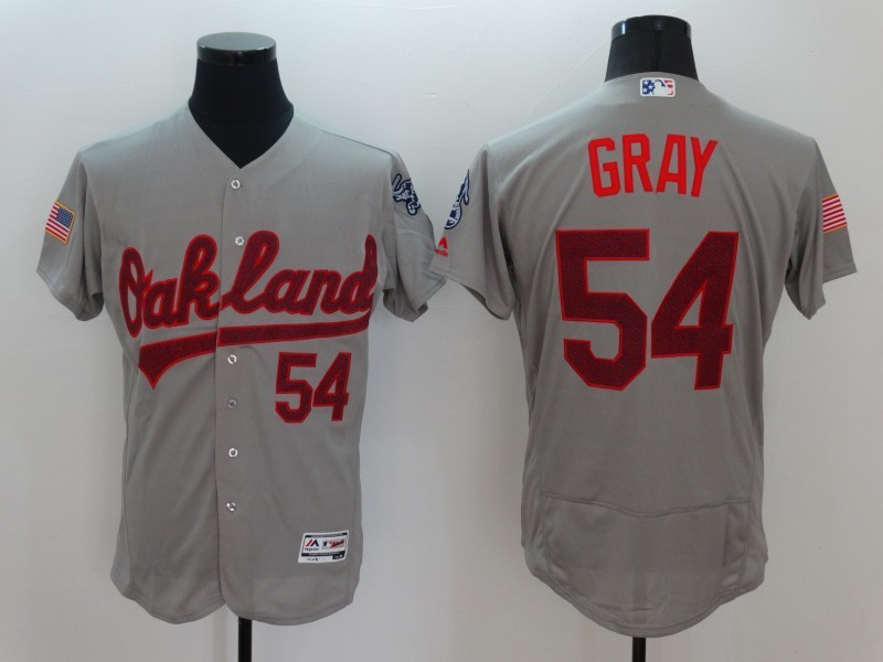 2016 MLB FLEXBASE Oakland Athletics 54 Gray Grey Fashion Jerseys