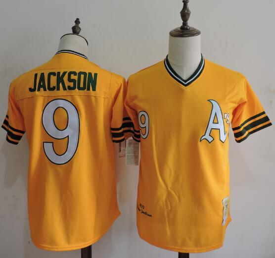 2016 MLB FLEXBASE Oakland Athletics 9 Reggie Jackson Yellow Throwback Jerseys
