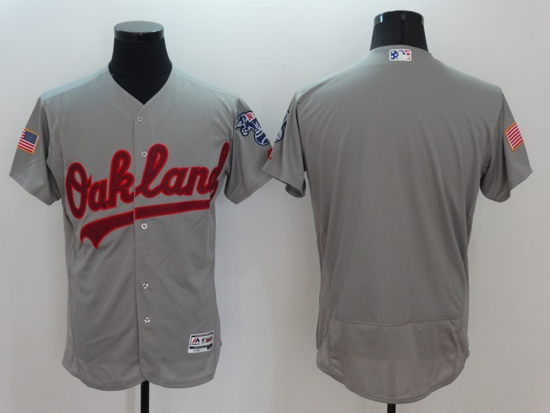 2016 MLB FLEXBASE Oakland Athletics Blank Grey Fashion Jerseys