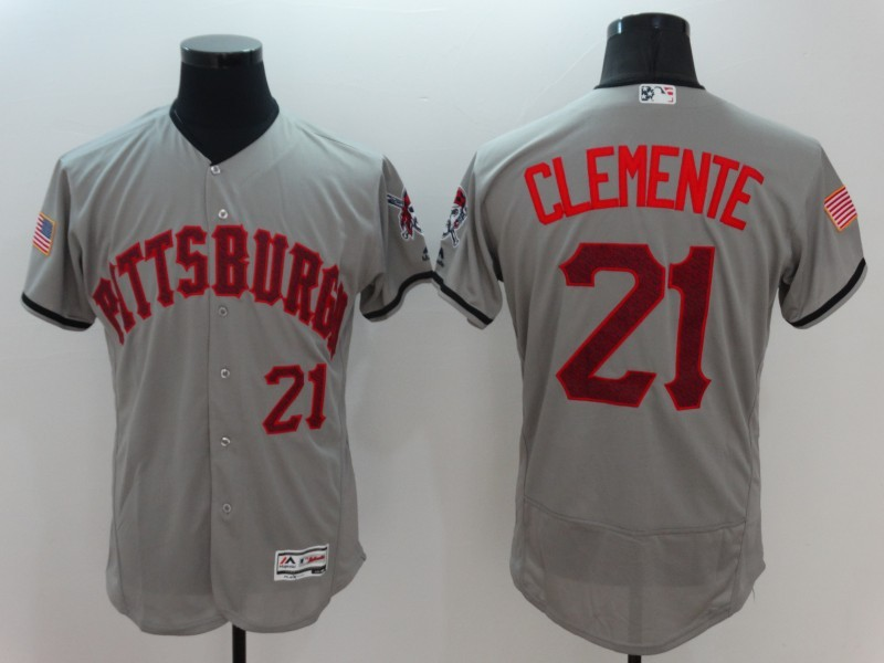 2016 MLB FLEXBASE Pittsburgh Pirates 21 Clemente Grey Fashion Jerseys