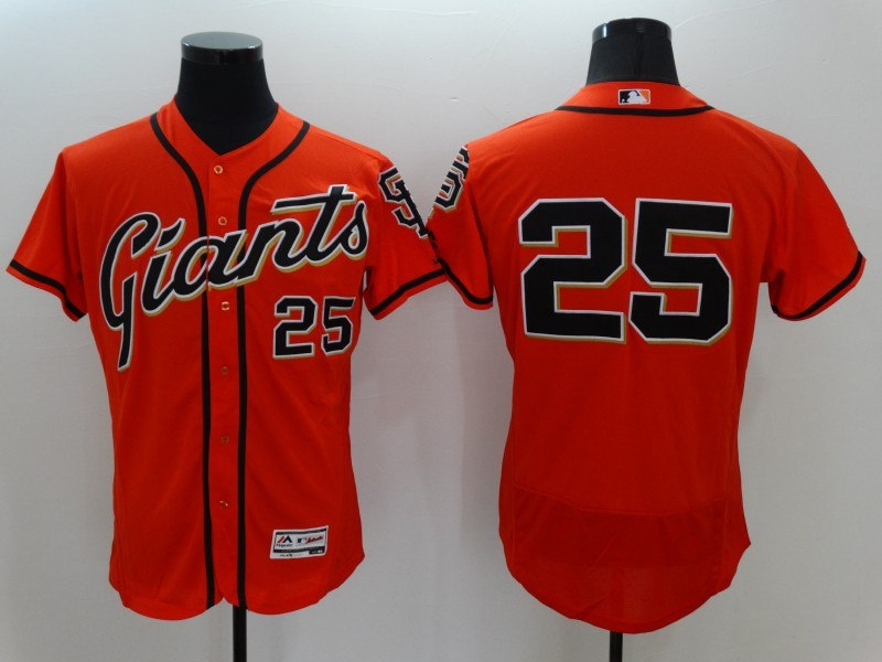 2016 MLB FLEXBASE San Francisco Giants 25 Barry Bonds Orange Jerseys