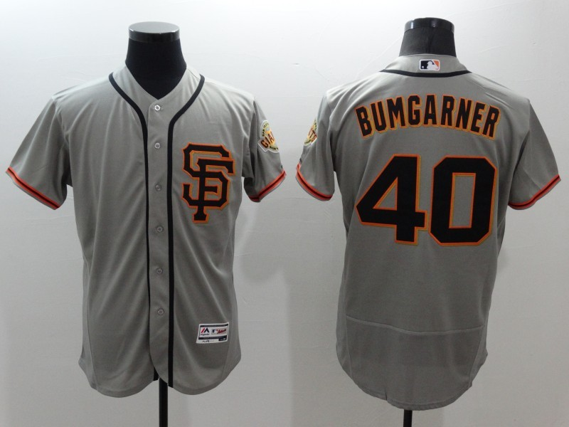 2016 MLB FLEXBASE San Francisco Giants 40 Bumgarner grey jerseys