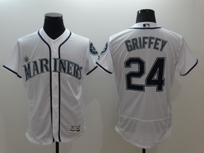 2016 MLB FLEXBASE Seattle Mariners 24 Ken Griffey White Jerseys