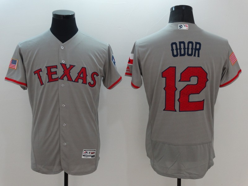 2016 MLB FLEXBASE Texas Rangers 12 Odor Grey Fashion Jerseys