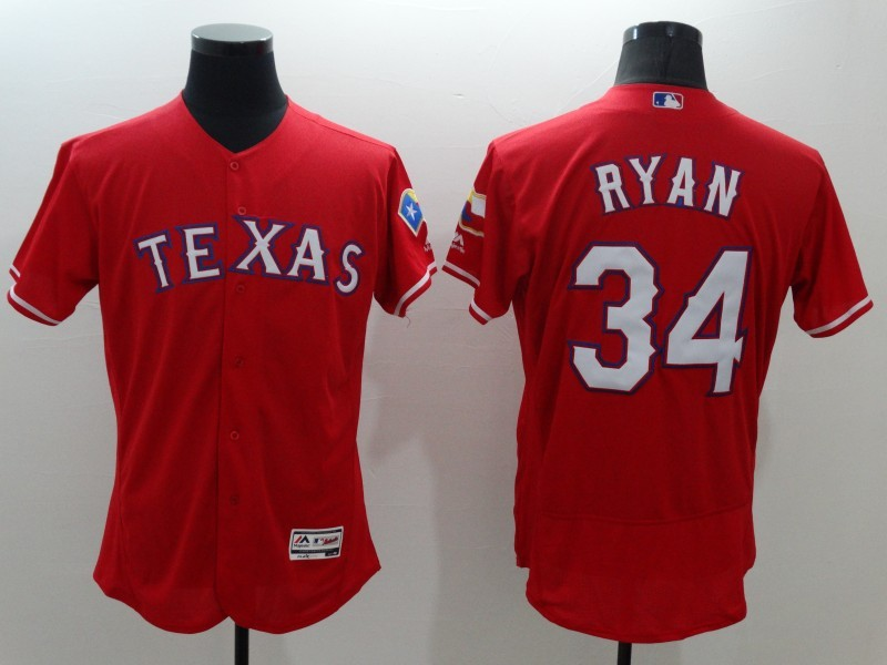 2016 MLB FLEXBASE Texas Rangers 34 Ryan red jerseys