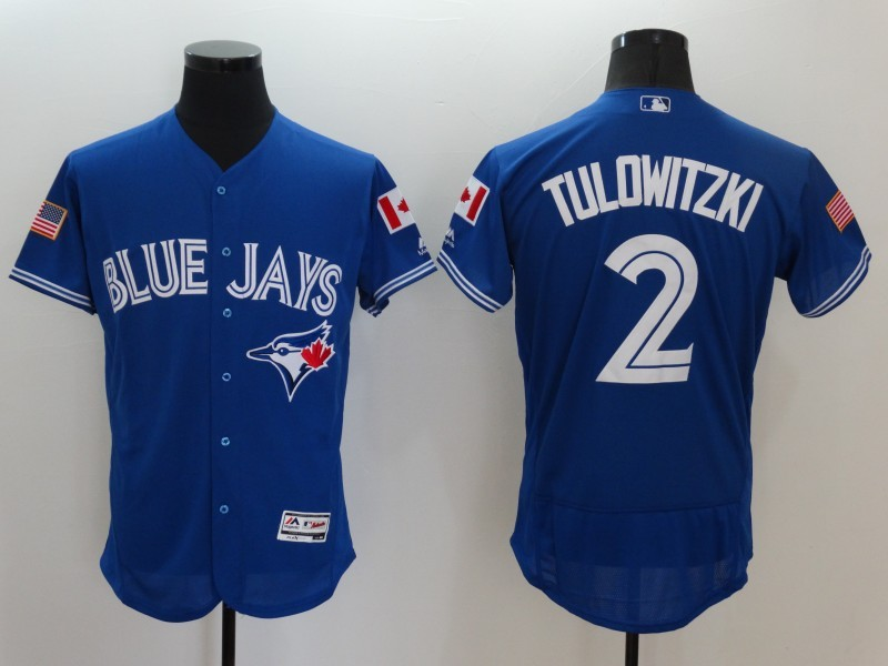 2016 MLB FLEXBASE Toronto Blue Jays 2 Tulowitzki Blue Fashion Jerseys