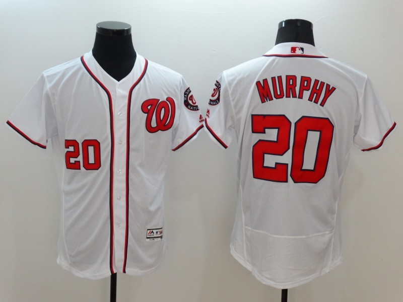 2016 MLB FLEXBASE Washington Nationals 20 Murphy White Jerseys