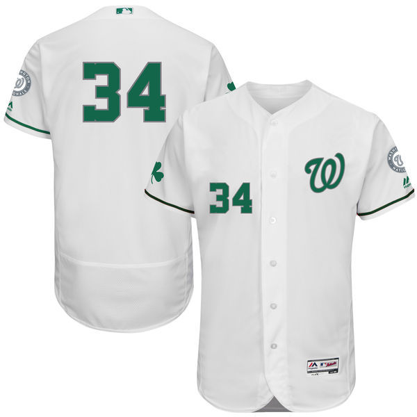 2016 MLB FLEXBASE Washington Nationals 34 Bryce Harper White Fashion Jerseys