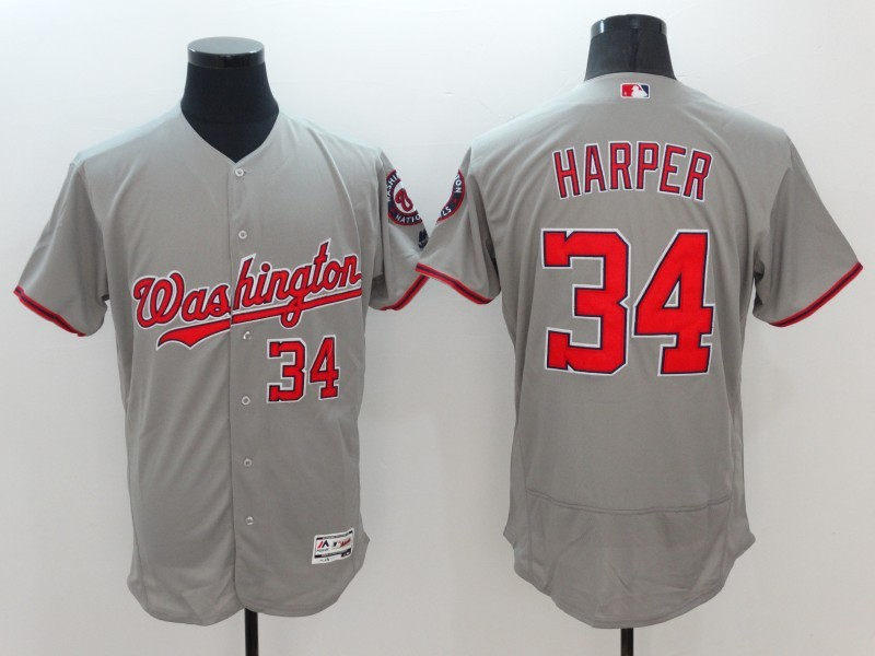 2016 MLB FLEXBASE Washington Nationals 34 Harper Grey Jerseys