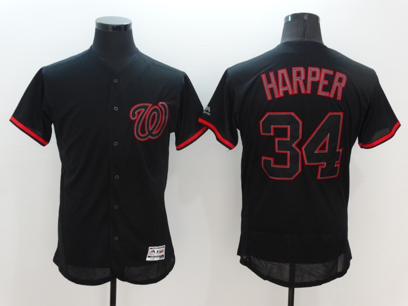 2016 MLB FLEXBASE Washington Nationals 34 Harper black Jerseys