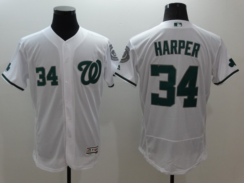 2016 MLB FLEXBASE Washington Nationals 34 Harper white jerseys