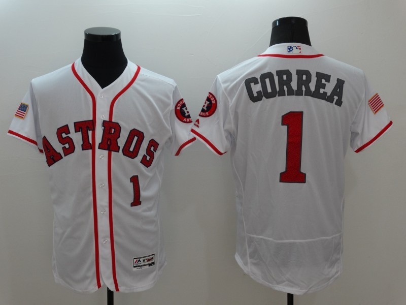 2016 MLB Houston Astros 1 Correa White Elite Fashion Jerseys