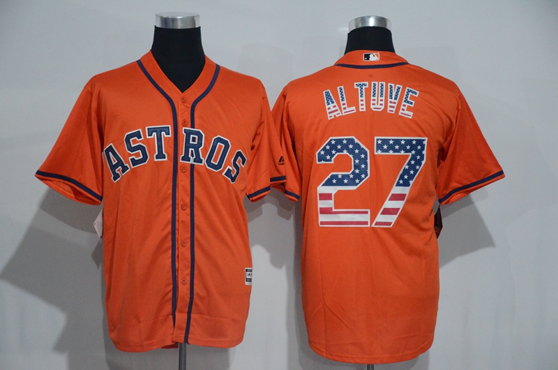 2016 MLB Houston Astros 27 Altuve Orange USA Flag Fashion Jerseys