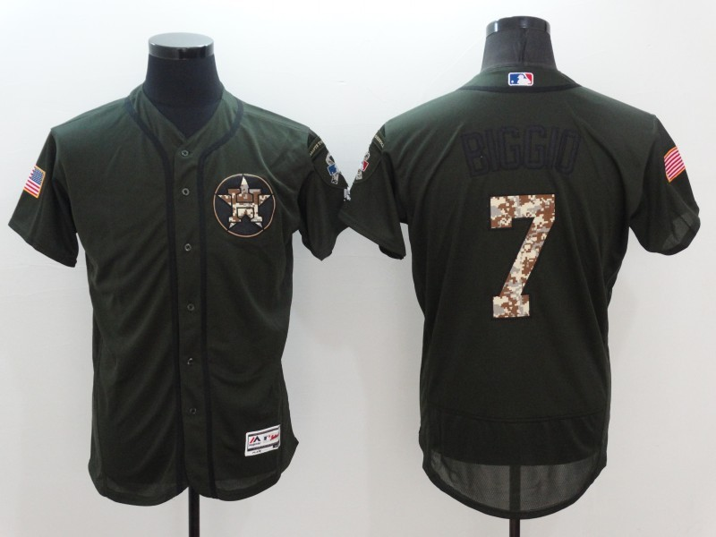 2016 MLB Houston Astros 7 Craig Biggio Green Salute to Service Stitched Baseball Jersey