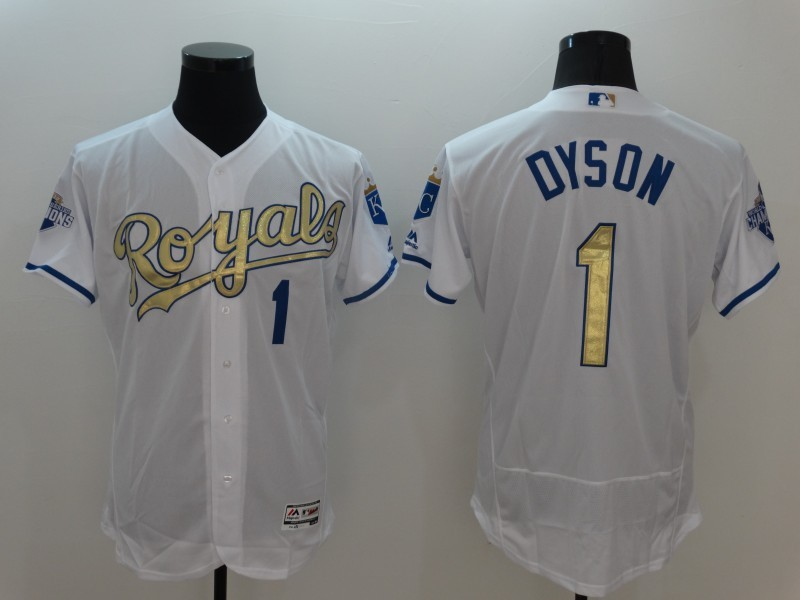 2016 MLB Kansas City Royals 1 Dyson White Platinum Elite Fashion Jerseys