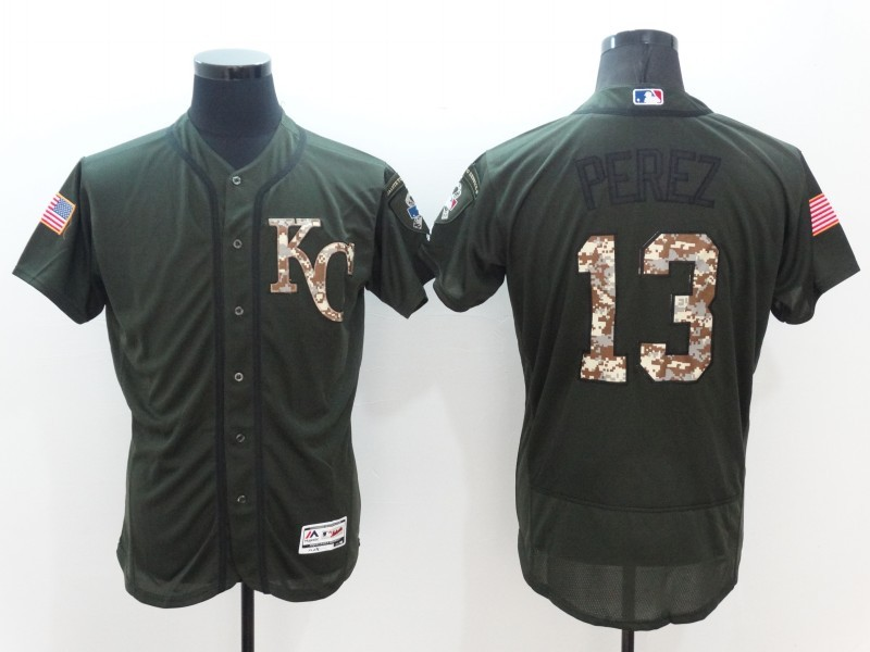 2016 MLB Kansas City Royals 13 Perez Green Salute to Service Stitched Baseball Jersey