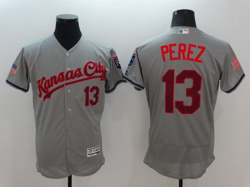 2016 MLB Kansas City Royals 13 Perez Grey Elite Fashion Jerseys