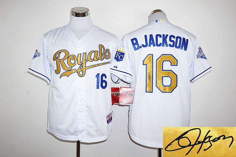 2016 MLB Kansas City Royals 16 B.Jackson player signed white jerseys