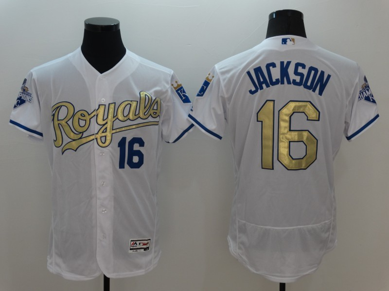 2016 MLB Kansas City Royals 16 Jackson White Platinum Elite Fashion Jerseys