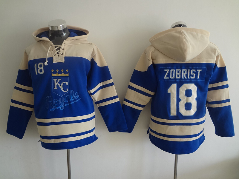 2016 MLB Kansas City Royals 18 Zobrist blue Lace Up Pullover Hooded Sweatshirt