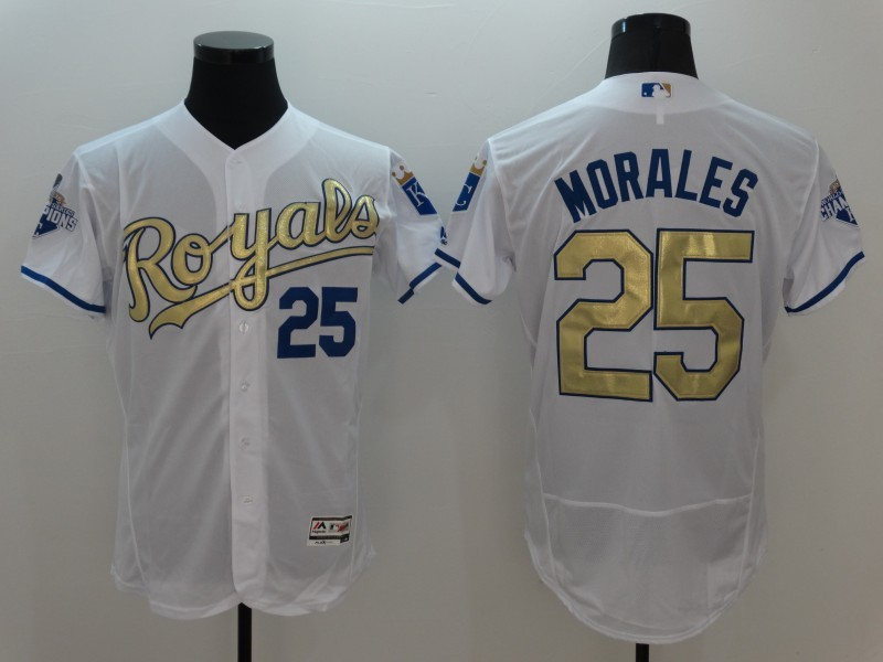 2016 MLB Kansas City Royals 25 Morales White Platinum Elite Fashion Jerseys