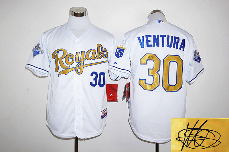 2016 MLB Kansas City Royals 30 Ventura player signed white jerseys