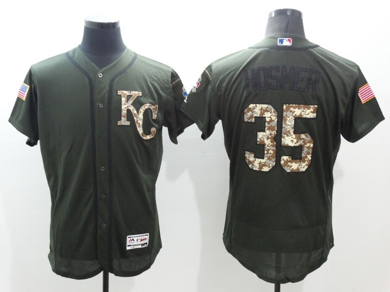 2016 MLB Kansas City Royals 35 Hosmer Green Salute to Service Stitched Baseball Jersey