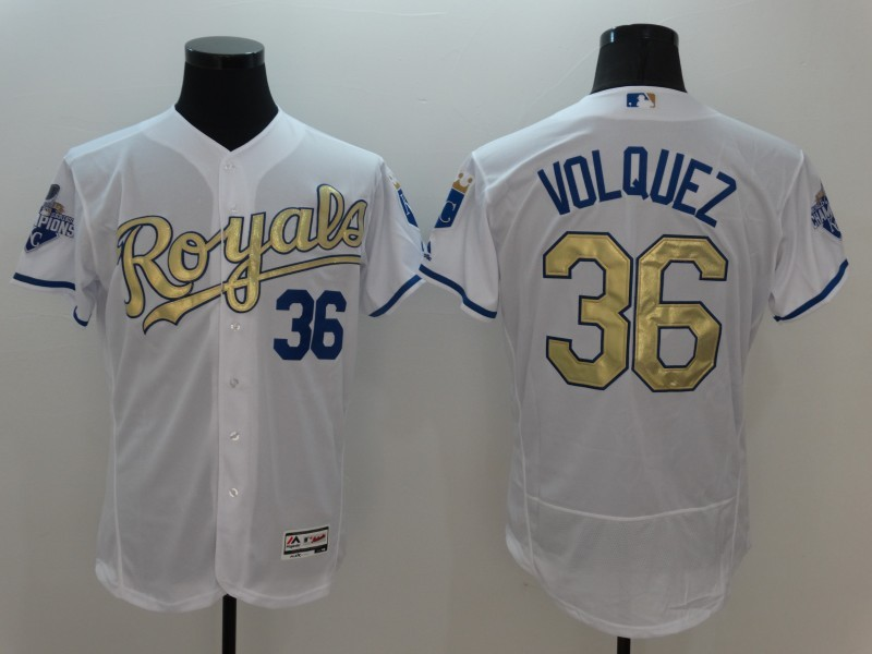 2016 MLB Kansas City Royals 36 Volquez White Platinum Elite Fashion Jerseys