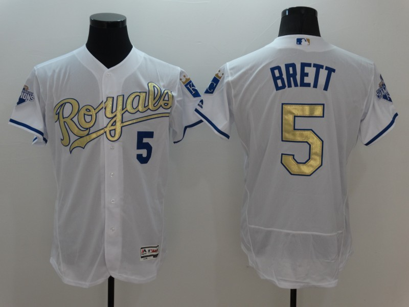 2016 MLB Kansas City Royals 5 Brett White Platinum Elite Fashion Jerseys
