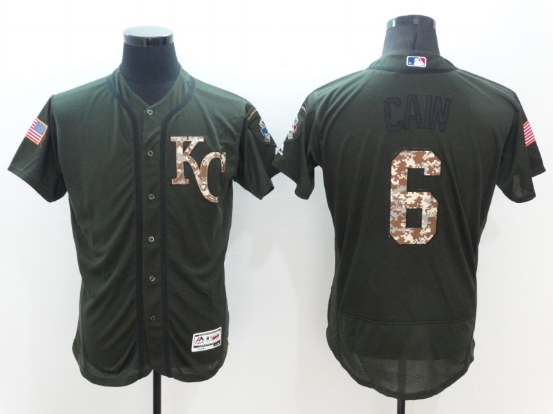 2016 MLB Kansas City Royals 6 Cain Green Salute to Service Stitched Baseball Jersey