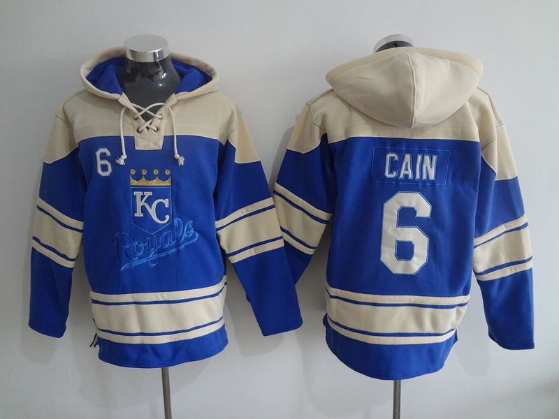2016 MLB Kansas City Royals 6 Cain blue Lace Up Pullover Hooded Sweatshirt