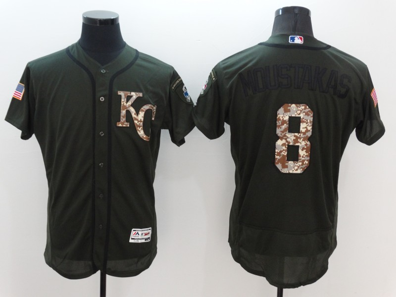 2016 MLB Kansas City Royals 8 Moustakas Green Salute to Service Stitched Baseball Jersey