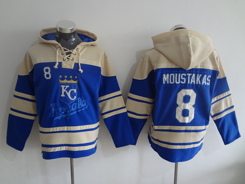 2016 MLB Kansas City Royals 8 Moustakas blue Lace Up Pullover Hooded Sweatshirt