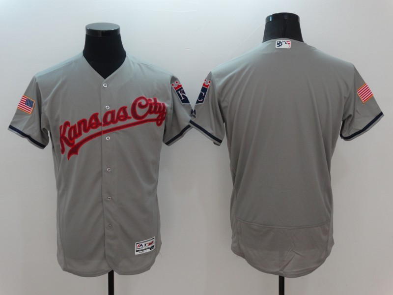 2016 MLB Kansas City Royals Blank Grey Elite Fashion Jerseys