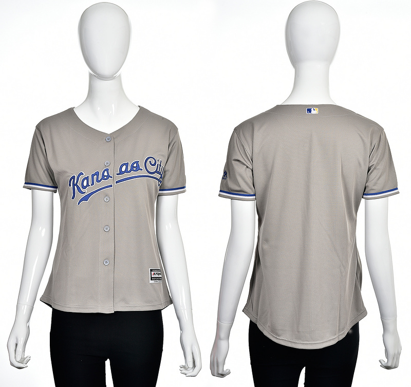 2016 MLB Kansas City Royals Blank grey women jerseys