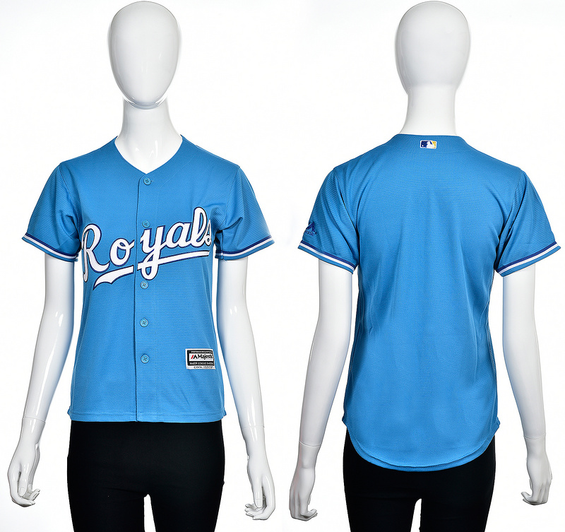 2016 MLB Kansas City Royals Blank light blue women jerseys