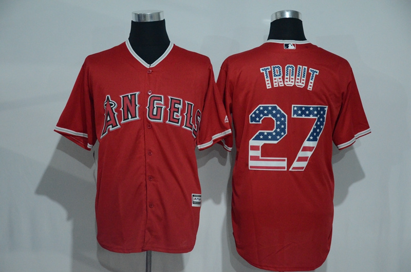 2016 MLB Los Angeles Angels 27 Trout Red USA Flag Fashion Jerseys